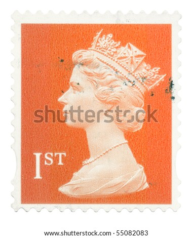 UNITED KINGDOM - CIRCA 1993 to 2005: An English Used First Class Postage Stamp showing Portrait of Queen Elizabeth 2nd, circa 1993 - 2005 - stock photo