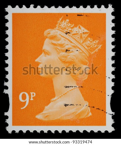UNITED KINGDOM - CIRCA 1993 to 2007: An English Used Postage Stamp showing Portrait of Queen Elizabeth 2nd, circa 1993 to 2007 - stock photo