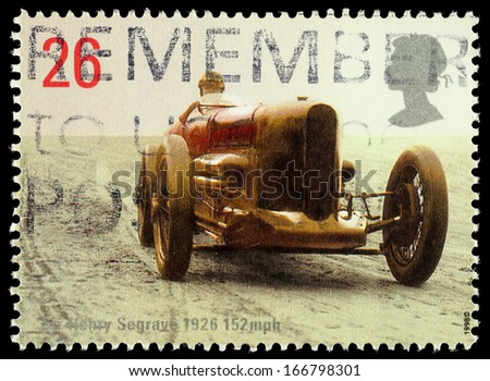 UNITED KINGDOM - CIRCA 1998: Used postage stamp printed in Britain celebrating British Land Speed Records showing Sir Henry Seagraves Sunbeam Car, circa 1998