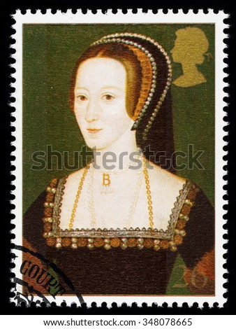 UNITED KINGDOM - CIRCA 1997: used postage stamp printed in Britain commemorating King Henry 8th showing Anne Boleyn one of his many Wives - stock photo
