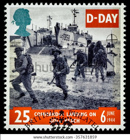 UNITED KINGDOM - CIRCA 1994: used postage stamp printed in Britain commemorating the 50th Anniversary of the D-Day Landings in German Occupied France in 1944 - stock photo