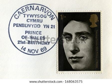 UNITED KINGDOM - CIRCA 1969: Used vintage Postal Stamp celebrating the 21st Birthday of the Prince of Wales, circa 1969. - stock photo