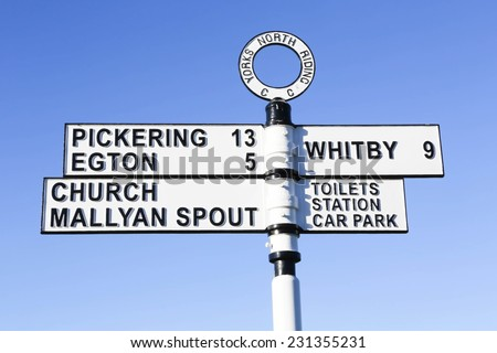 United Kingdom, Finger post, Yorks North Riding, pointing to Egton, Pickering, Mallyan Spout and Whitby. North Yorkshire, England, United Kingdom,  - stock photo