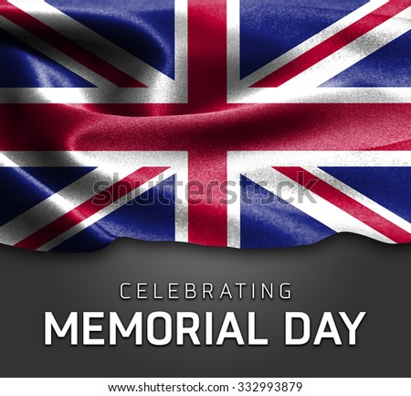 United Kingdom flag and Celebrating Memorial Day Typography - stock photo