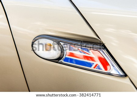 United Kingdom flag as a decoration of a car light - The flag of the United Kingdom of Great Britain and Northern Ireland detail flag - stock photo