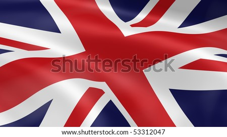 United Kingdom flag in the wind. Part of a series. - stock photo