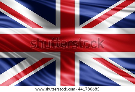 United Kingdom flag of silk-3D illustration