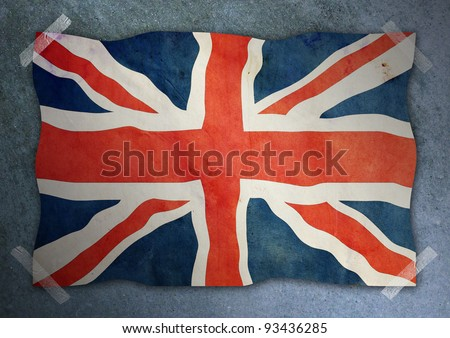 United Kingdom flag on cement wall