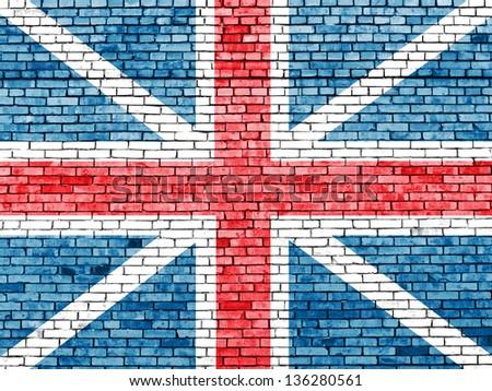 United Kingdom flag on old brick wall - stock photo