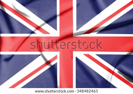 United Kingdom flag on soft and smooth silk texture