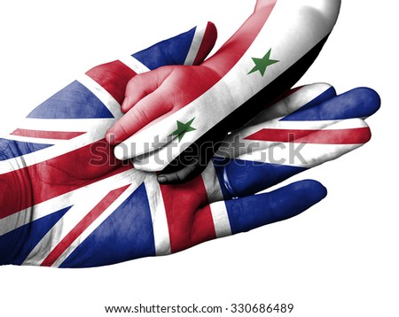United Kingdom flag overlaid the hand of an adult man holding a baby hand with the flag of Syria overprinted. Conceptual image for help, aid, assistance, rescue. Isolated on white background - stock photo
