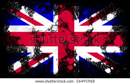 United Kingdom flag paint splatter - stock photo