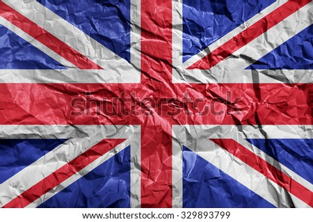 United Kingdom flag painted on crumpled paper background