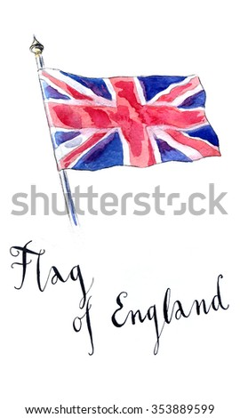 United Kingdom flag waving in the wind, hand drawn, watercolor - Illustration - stock photo