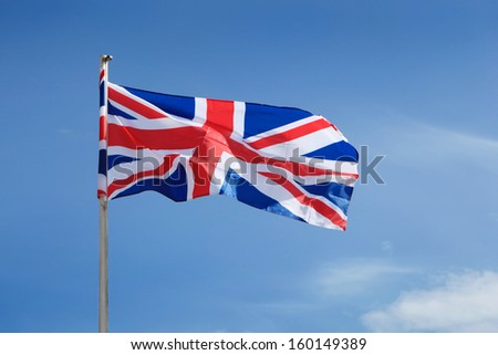 United Kingdom Flag waving on wind.