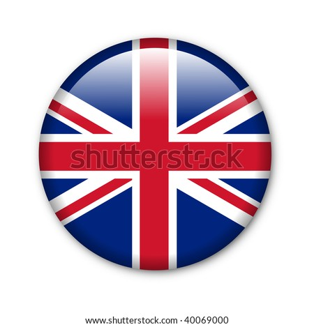 United Kingdom - glossy button with flag - stock photo