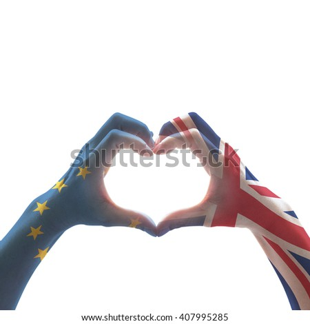 United kingdom great Britain and EU European union flag pattern on person human people hands in heart love shape isolated on white background with clipping path: International labour day concept idea - stock photo