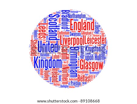 United Kingdom main cities with the flag colors info-text graphics and arrangement word clouds illustration concept - stock photo