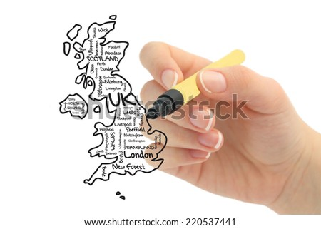United Kingdom map and words cloud with larger cities hand drawn - stock photo