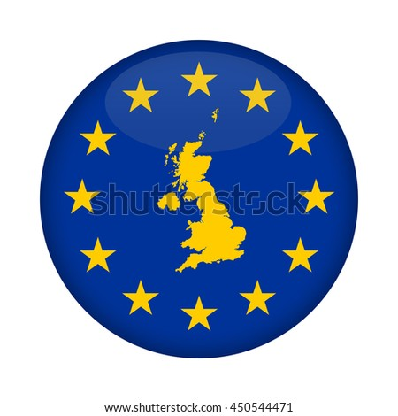 United Kingdom map on a European Union flag button isolated on a white background. - stock photo