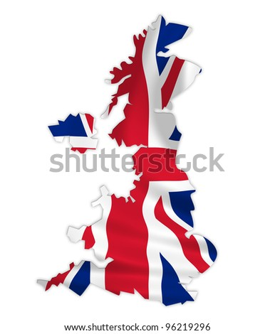 United Kingdom map on a waving flag - stock photo
