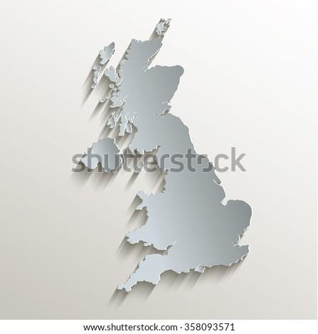 United Kingdom map white blue card paper 3D raster - stock photo