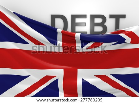 United Kingdom national debt and budget deficit financial crisis - stock photo