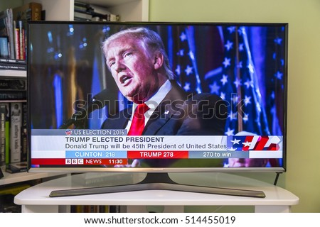 UNITED KINGDOM - NOVEMBER 9TH 2016: A shot of a television showing the BBC News channel with live breaking news that Donald Trump has been elected the new US President, on 9th November 2016.