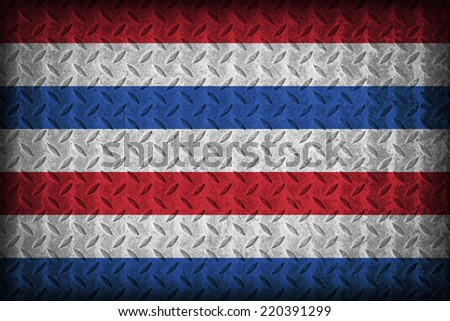 United Kingdom of the Netherlands flag pattern on the diamond metal plate texture, vintage style - stock photo