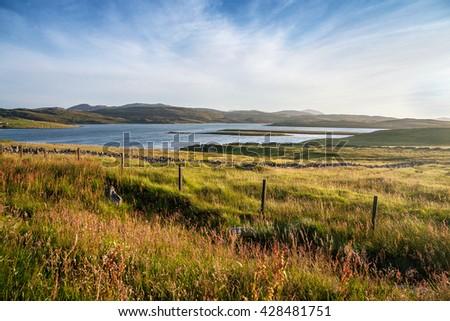 United Kingdom, Scotland, Isle of Skye, scottish landscape with lake  - stock photo