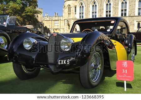 UNITED KINGDOM - SEPTEMBER 13: A classic Bugatti on display at the United Kingdom Concours d'elegance Classic Car Expo at Windsor Castle on September 13, 2012 in Windsor, United Kingdom. - stock photo