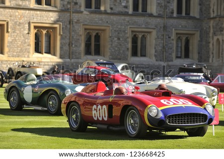 UNITED KINGDOM - SEPTEMBER 13: A classic Ferrari on display at the United Kingdom Concours d'elegance Classic Car Expo at Windsor Castle on September 13, 2012 in Windsor, United Kingdom. - stock photo