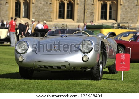 UNITED KINGDOM - SEPTEMBER 13: A Porsche Spyder on display at the United Kingdom Concours d'elegance Classic Car Expo at Windsor Castle on September 13, 2012 in Windsor, United Kingdom. - stock photo