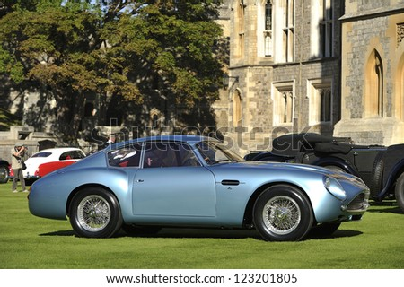 UNITED KINGDOM - SEPTEMBER 13: Aston Martin Zagarto on display at the United Kingdom Concours d'elegance Classic Car Expo at Windsor Castle on September 13, 2012 in Windsor, United Kingdom. - stock photo