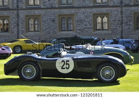 UNITED KINGDOM - SEPTEMBER 13: Jaguar on display at the United Kingdom Concours d'elegance Classic Car Expo at Windsor Castle on September 13, 2012 in Windsor, United Kingdom. - stock photo