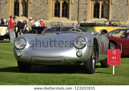 UNITED KINGDOM - SEPTEMBER 13: Porsche Spyder on display at the United Kingdom Concours d'elegance Classic Car Expo at Windsor Castle on September 13, 2012 in Windsor, United Kingdom. - stock photo
