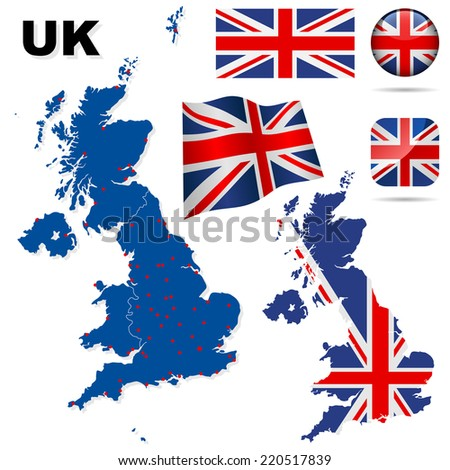 United Kingdom set. Detailed country shape with region borders, flags and icons isolated on white background. - stock photo