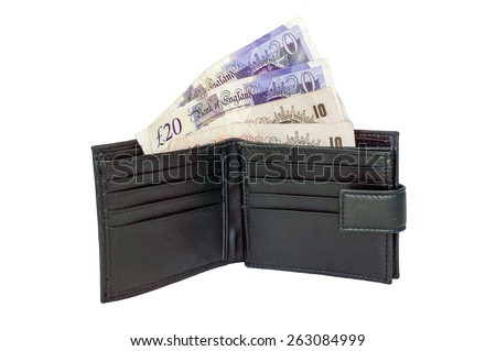 United Kingdom Ten and Twenty pound Notes in a Black Wallet. isolated on a white background. - stock photo