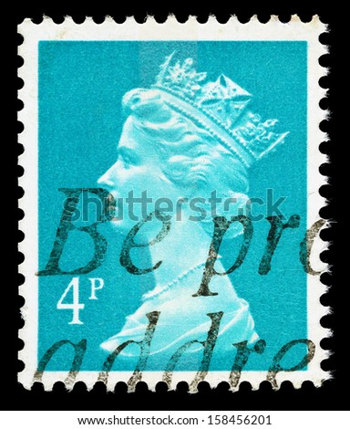 UNITED KINGDOM 1971 to 1996: A used postage stamp printed in Britain showing Portrait of Queen Elizabeth 2nd, printed and issued between 1971 and 1996