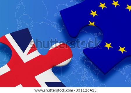 United Kingdom versus Europe puzzle concept. - stock photo