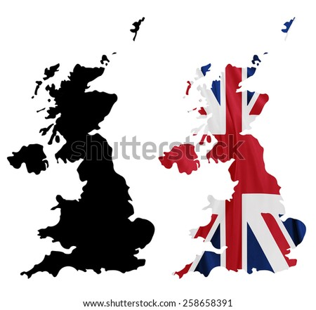 United Kingdom - Waving national flag on map contour with silk texture