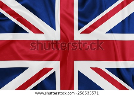 United Kingdom - Waving national flag on silk texture - stock photo