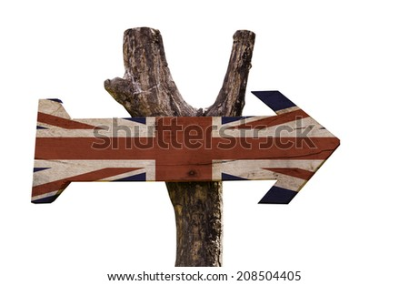 United Kingdom wooden sign isolated on white background - stock photo