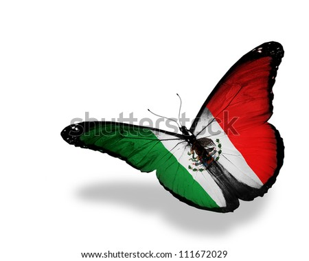 United Mexican States flag butterfly flying, isolated on white background - stock photo