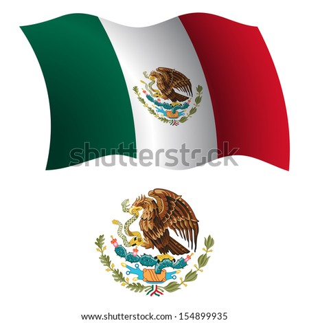 united mexican states wavy flag and coat of arm against white background, art illustration