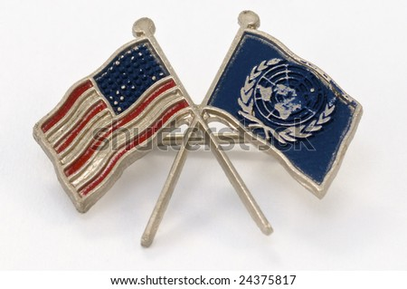 united nations and usa flags lapel pin - stock photo