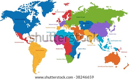 United Nations divides the world into macro-geographical regions and sub-regions - stock photo