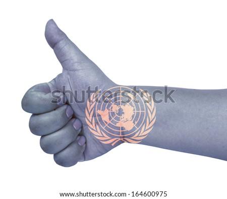 United nations flag on thumb up gesture like icon on white background - stock photo