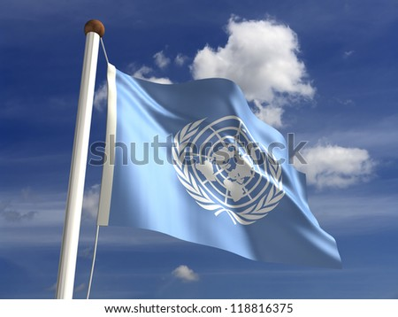 United Nations flag with clipping path (isolated with clipping path) - stock photo
