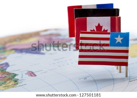 United Nations Flags on a world map - stock photo